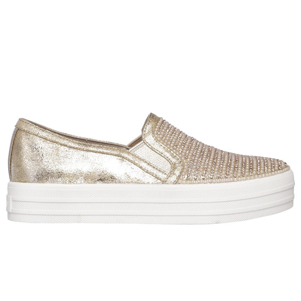 Skechers Double Up Shiny Flatform Slip On Shoe