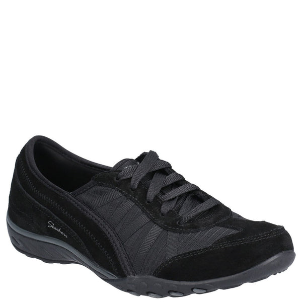 Skechers Breathe-Easy-Weekend Wishes Suede & Mesh Lace Up Trainer