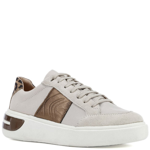 Geox D Ottaya F Lace Up Leather Trainers
