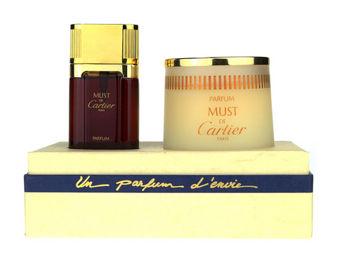 Cartier Must De Cartier Christmas Lights Gift Set 2Pc Gift Set Parfum 1.0Oz & Candle