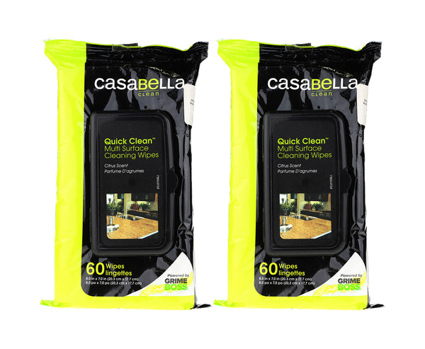 Casabella Surface Cleaning Wipes 'Citrus Scent' 60 X 8'' x 7'' New [Pack Of 2]