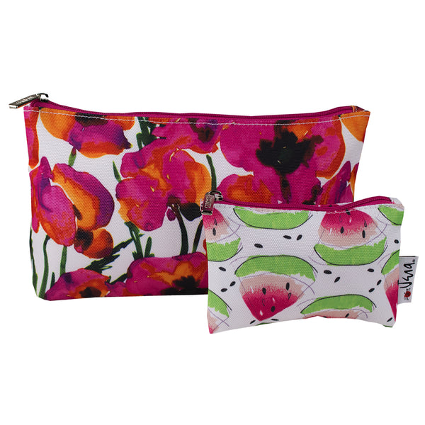 Pink Flower And Watermelon 2 Pcs Cosmetic Makeup Bag mL