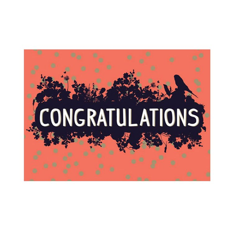 GREETING CARD - CONGRATULATIONS CORAL BIRD