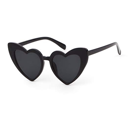 Adult Black Love Heart Sunglasses