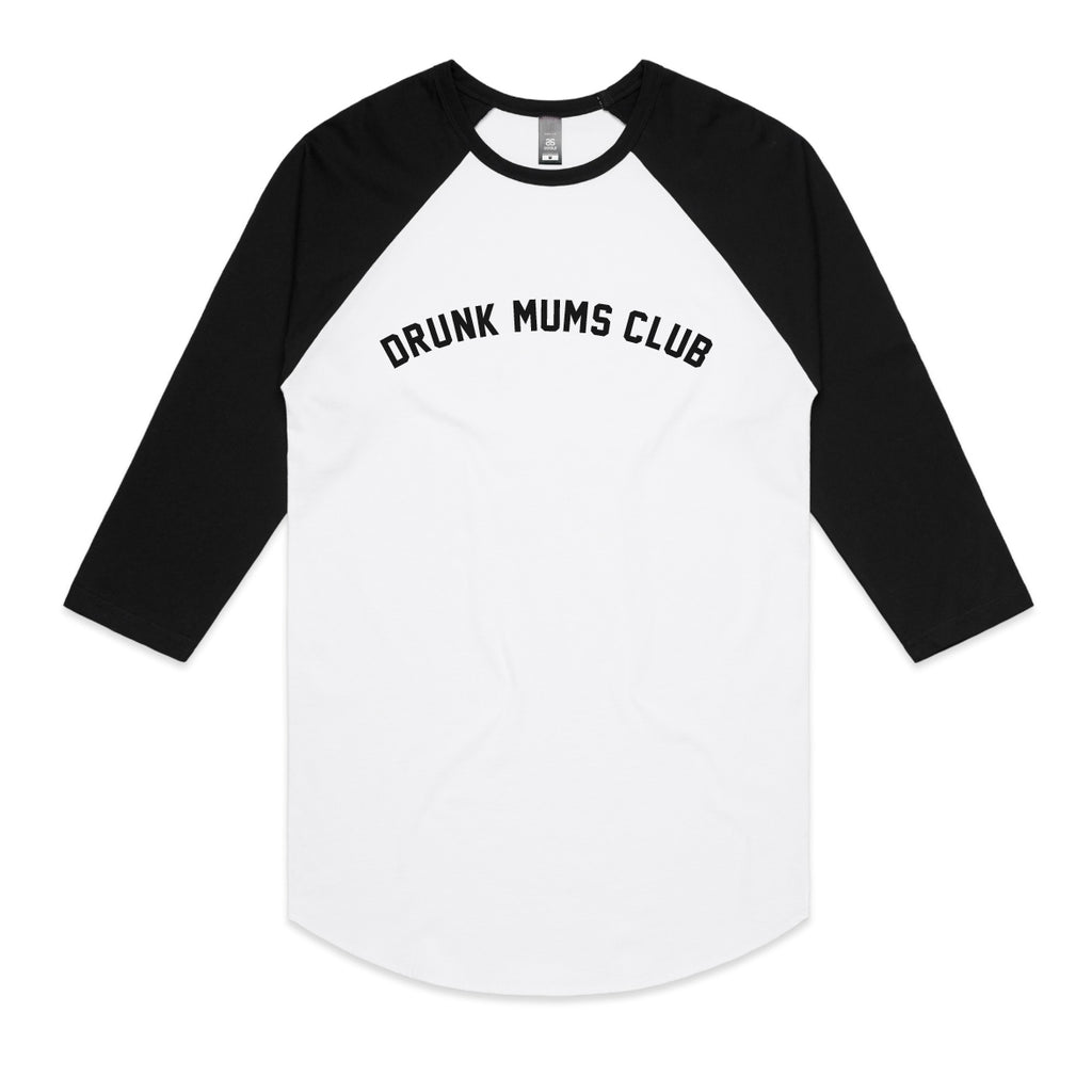Drunk Mums Club Womens T-shirt - Black Sleeve Raglan