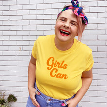 Girls Can Womens T-shirt Yellow