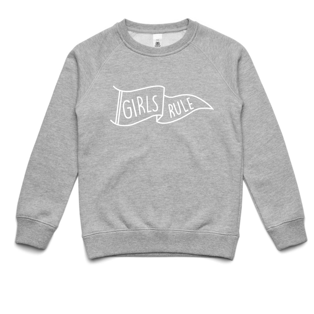 """Girls Rule"" Grey Kids Jumper - PREORDER"