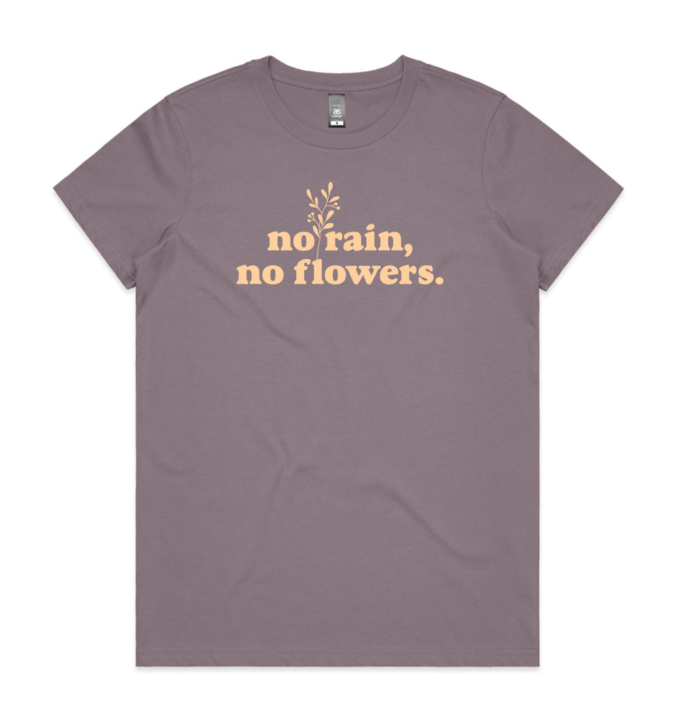No rain No Flowers Mauve Womens T-shirt