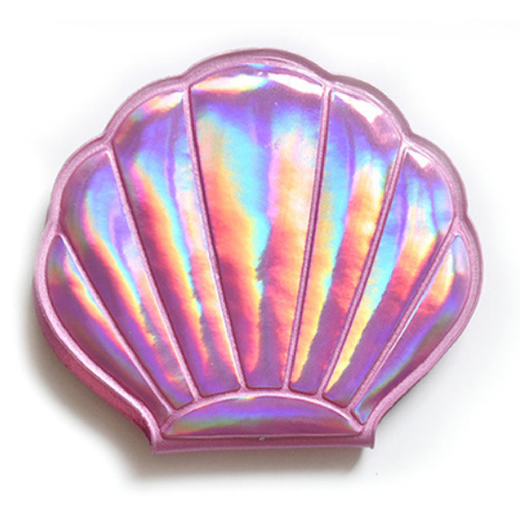 Cosmetic Mirror - Clam Shell (Pink & Silver)