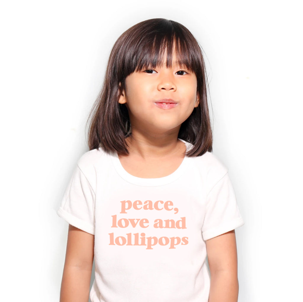Peace Love and Lollipops Kids Tee - Peach Text
