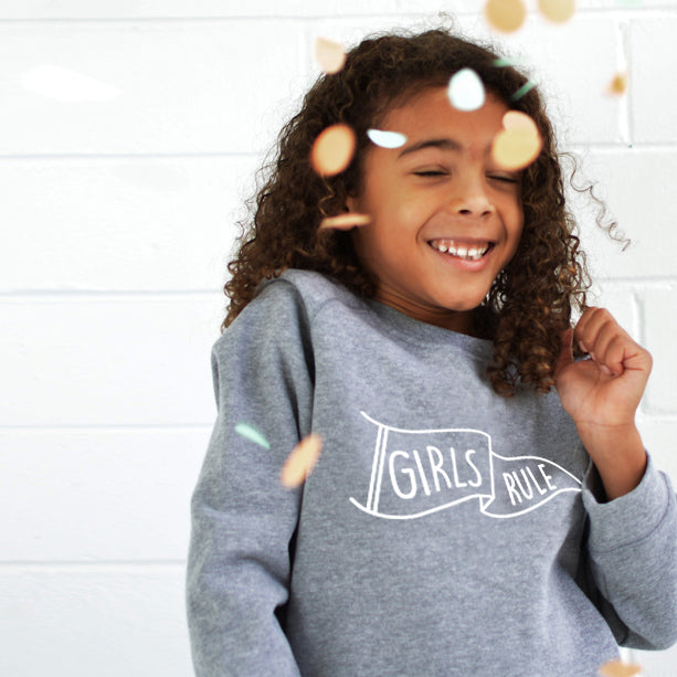 """Girls Rule"" Grey Kids Jumper"