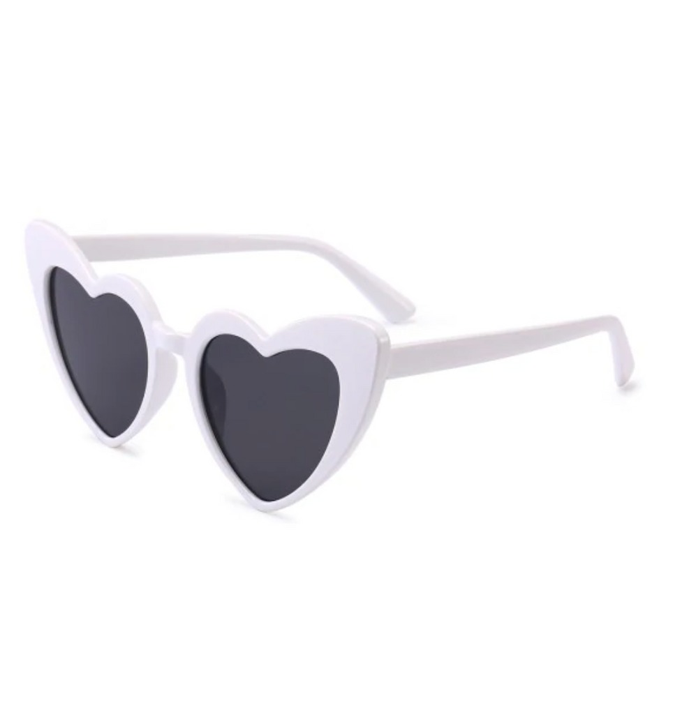 Adult White Love Heart Sunglasses Dark Lens