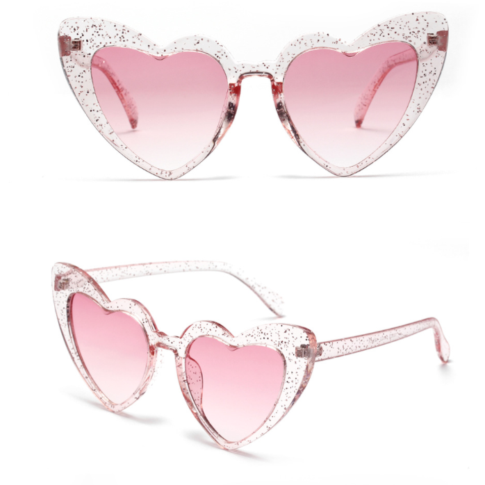 Adult Glitter Pink Love Heart Sunglasses
