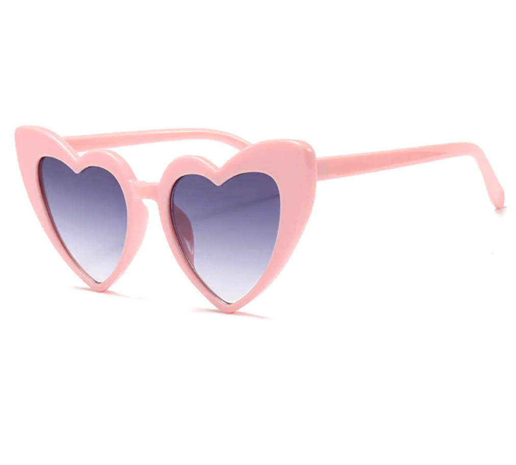 Pink Love Heart Sunglasses Dark Lens