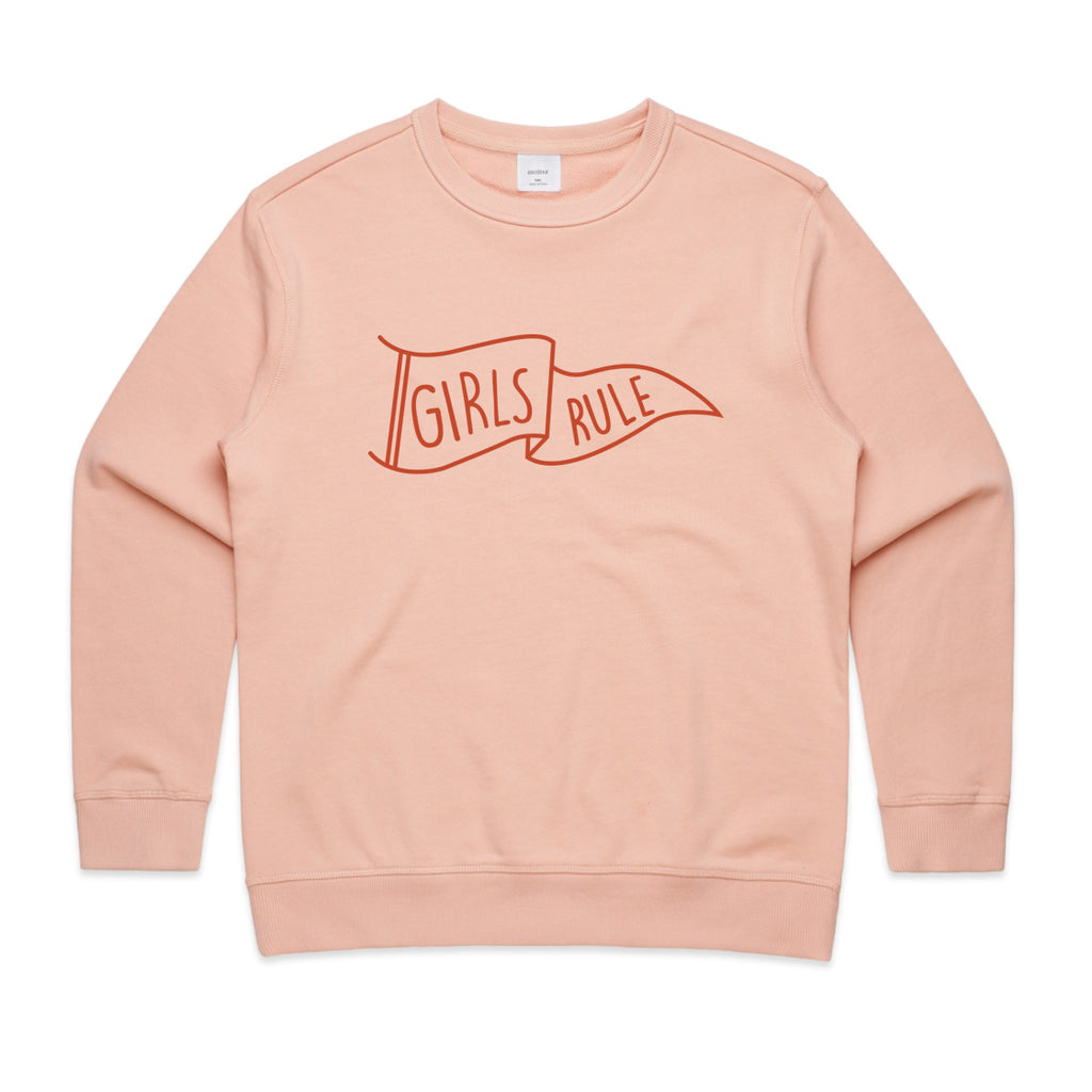 """Girls Rule"" Pink Crew Jumper - SALE"