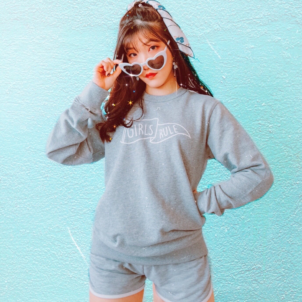 Girls Rule Grey Crew Jumper