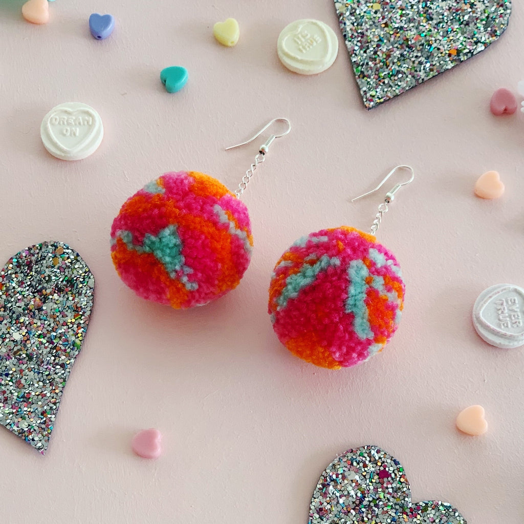 Self Love in Progress matching Pom Pom Earrings