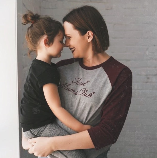 Tired Mums Club Raglan Grey and Burgundy - SALE