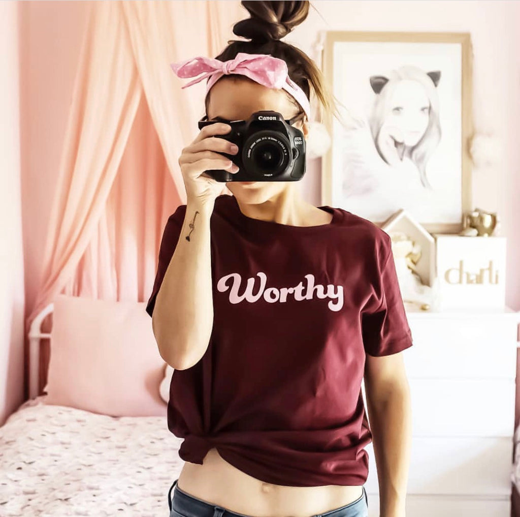 Worthy Womens Burgundy T-shirt
