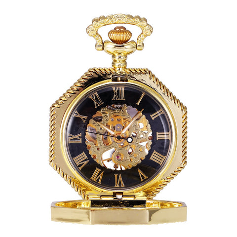 Retro Octagon Skeleton Hollow Golden Roman Analog Hand Winding Movement Mechanical Pocket Watch Clock Pendant Long Chain /WPK237