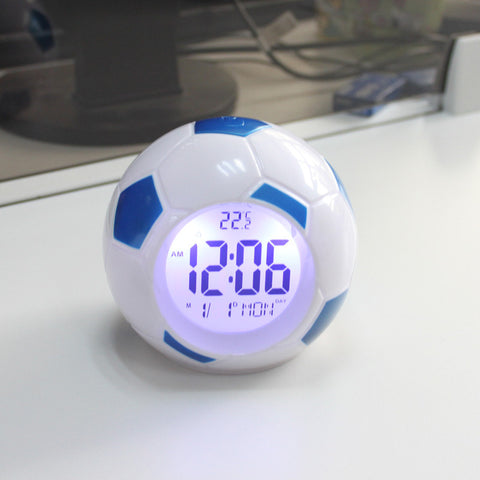 2015 Digital Backlight Temperature Display Sounds Control Football Soccer Clock LED Alarm Clock Repeating Snooze Clock MDC-03
