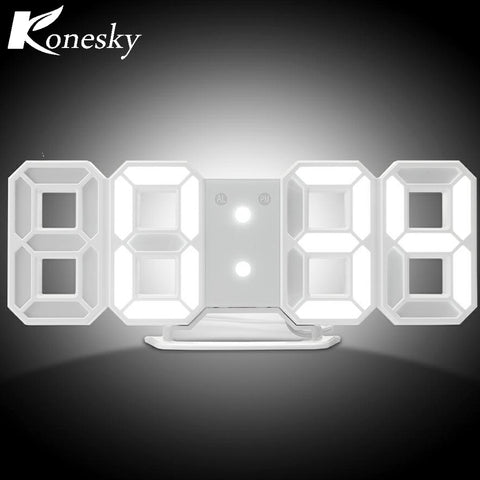 3D Luminova LED Desk Clock/Wall Hanging Clock Digital LED Alarm Clock Backlight Snooze Function Adjustable Brightness Home Decor
