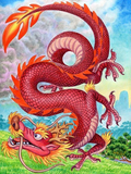 Le dragon rouge - Kit broderie diamant dragon - Broderiesdiamants.fr