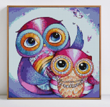""" Family Chouettes "" - Kit broderie diamants - Broderiesdiamants.fr"