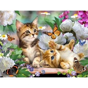 Le plaisir de chaton | Diamond painting chat - Broderiesdiamants.fr