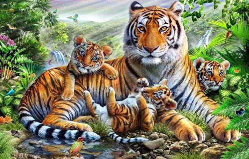 La famille tigre - Kit broderie diamants