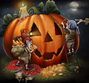 Sculpture d'halloween - Kit broderie diamants - Broderiesdiamants.fr