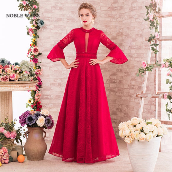 a9c20f8cf2 A-line Long Evening Dress With Sleeves Vintage Lace 2018 Custom made Floor