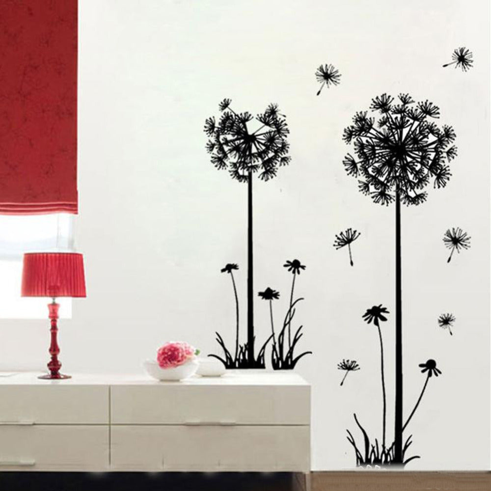 koleshy - flying dandelion flower butterfly Wall Stickers Living Room