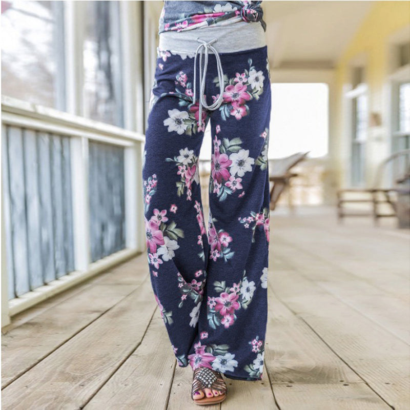 02541552ae ... koleshy - Sash floral print wide leg pants women Elastic loose boho  casual pants trousers Beach ...