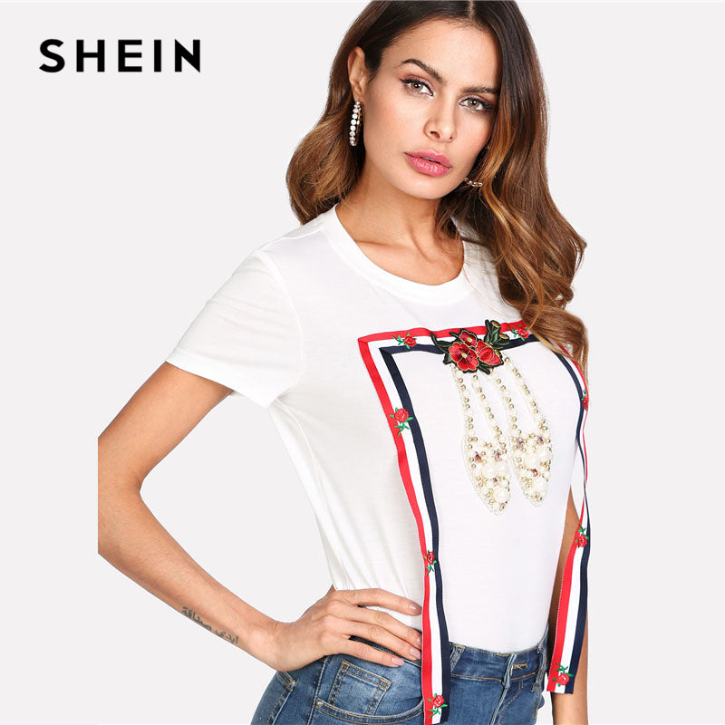 4a23d6c170 ... SHEIN Striped Tape And Pearl Beading T-shirt 2018 Summer Women White  Round Neck Short ...