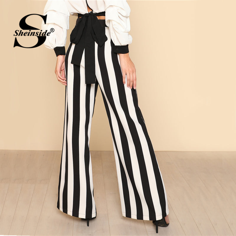 e8ed4a18f5 ... Sheinside Color Block Wide Leg Pants Women Black and White Striped  Loose Trousers 2018 Spring New ...