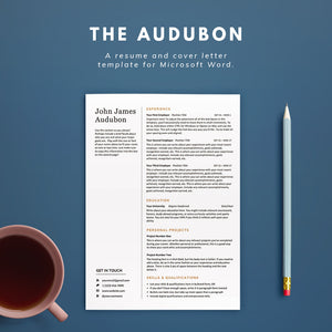 Fledge Resume Co : The Audubon Resume Template and Cover Letter