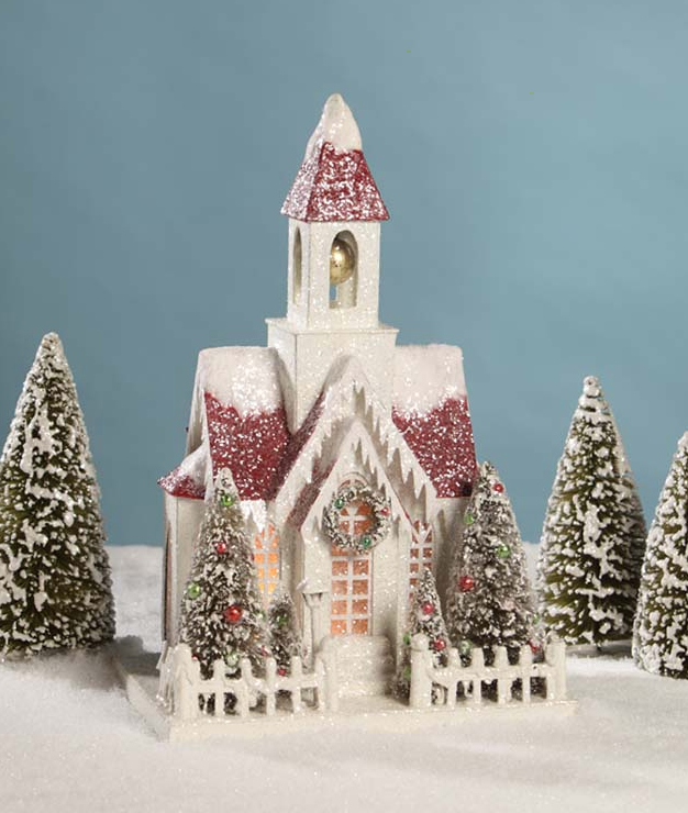 Vintage Putz Christmas Church by Bethany Lowe