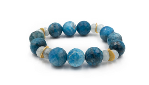 Apatite and Aquamarine Beaded Bracelet