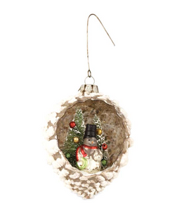 Snowman Glass Indent Pinecone Ornament