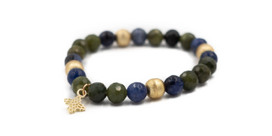 Green Jade and Sodalite Beaded Bracelet