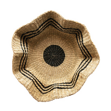 Hand-Woven Scalloped Sea Grass Basket with Black Stripes