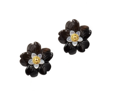 Black Onyx Azalea Earrings