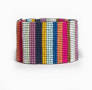 Multi Color Stripe Wide Stretch Bracelet