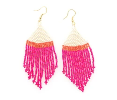 Hot Pink Ivory Coral Stripe Fringe Earrings