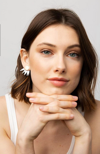 White 2 Piece Burst Post Earrings