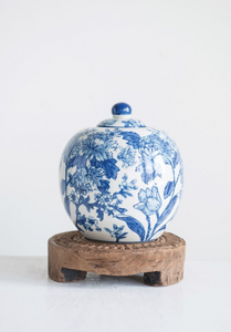 Stoneware Blue and White Ginger Jar