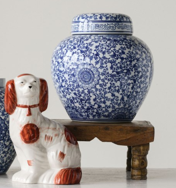 Blue and White Stoneware Ginger Jar