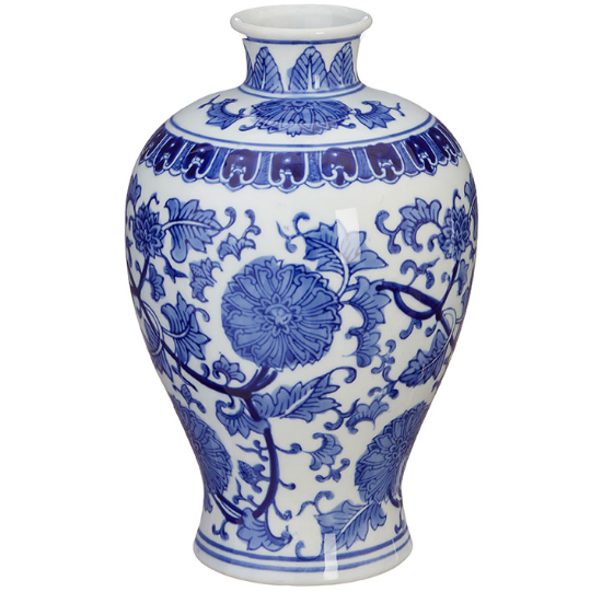 Blue and White 10.5 Inch Vase