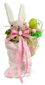 Pink Mohair Bunny with Basket